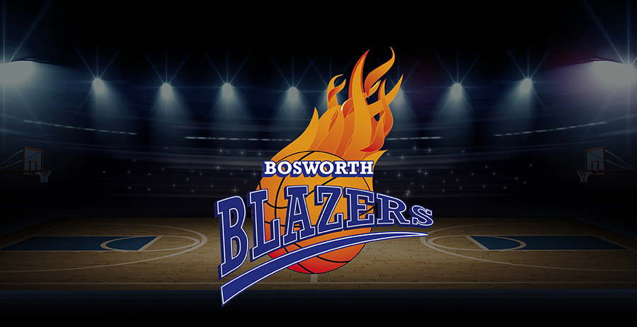 Bosworth Blazers Logo on Basketball Court